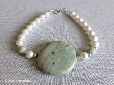 Pastel Green & Cream Peace Jade Coin, White Swarovski Pearls & Sterling Silver Bracelet